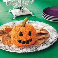 Jack-o'-Lantern Cheese Ball | MyRecipes.com