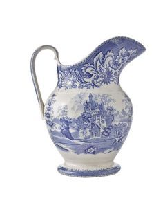 Beautiful blue transferware water pitcher