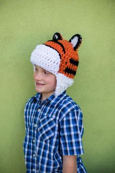 Crochet Tiger Hobbes Hat via Craftsy