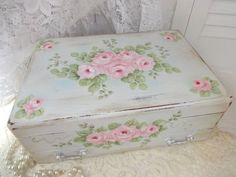 BEAUTIFUL ROMANTIC TRINKET BOX  completely hand painted by artist d.sommers   Avail on Ebay!!!