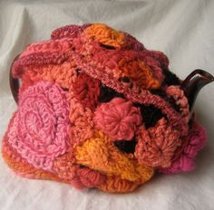 Freeform Crochet tea cozy, mostly handspun wool, by 2SistersStringworks, $55.00