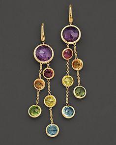 18K gold and semi precious stones in drop earrings