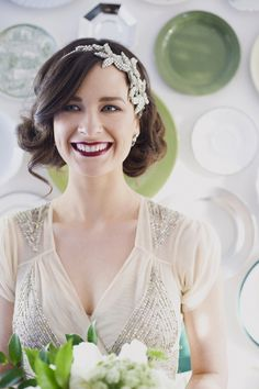 HAIR! Don't look at bridal aspect - good example of looser waves/pinned bob if we're desperate