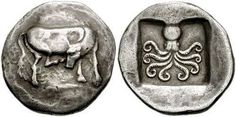 One of the oldest ~ 2,500 year old Greek silver Didrachm coin from Eretria with cow and octopus.