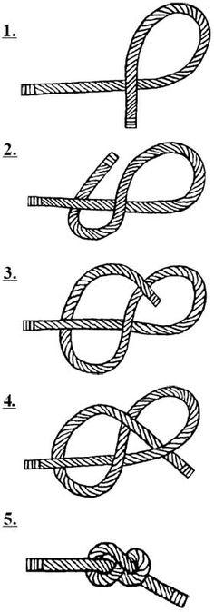 GEAT - Nó em Oito - Utilizado para arrematar provisoriamente a ponta de um cabo. Quando feito em laçada pode ser utilizado na cintura com um mosquetão em escaladas.