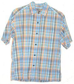 Eddie Bauer Mens Blue Plaid 100% Cotton Short Sleeve Button Down Shirt Medium M #EddieBauer #ButtonFront