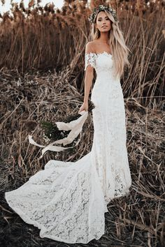 chic off the shoulder boho wedding dresses, simple lace long train bridal gowns, modern mermaid beach wedding dresses