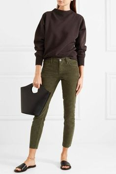 Olive corduroy Button and concealed zip fastening at front cotton Machine wash Designer color: Forest Night Skinny Pants, Skinny Fit, Color Khaki, Style And Grace, Elizabeth And James, Corduroy, Capri Pants, Khaki Pants, Trousers