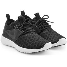 Nike Juvenate Sneakers ($68) ❤ liked on Polyvore featuring shoes, sneakers, nike, black, black trainers, nike shoes, nike sneakers, nike trainers and black shoes