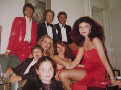 The von Furstenberg family—Diane, Egon, Alex and Tatiana—pose with friends Mick Jagger, Martin Summers, Jerry Hall and Nona Summers in London before the Red Ball in 1980. Read more: http://on.dvf.com/1eHaqzN