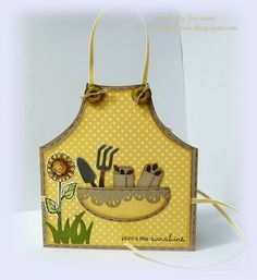 Stempeleinmaleins: summer skirt / apron card...great card for a gardener...a lot of cute details in the complete tutorial at this site...