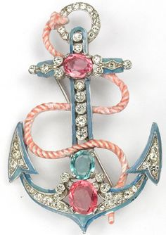 Trifari 'Alfred Philippe' Pale Blue Enamel and Pink and Blue Topaz Rope and Anchor Pin
