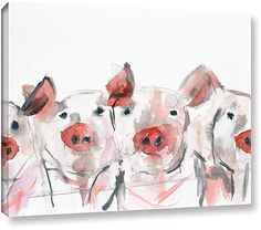 White & Pink Pigs Wrapped Canvas #ad #pigs