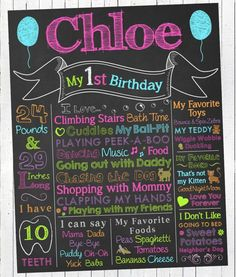 Colorful First Birthday Chalkboard Sign. Personalized & Printable
