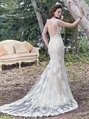 This dress is a sample in new condition. It was never worn, it has not been altered, and was steamed/hung by the dress shop before I picked it up. The color is ivory over champagne, and the lace and p