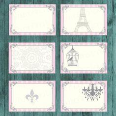 Vintage Parisian Printable Folding Buffet Cards  by ThumbAlinaLane
