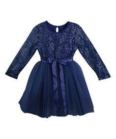 Loving this Navy Sequin Matilda A-Line Dress - Infant, Toddler & Girls on #zulily! #zulilyfinds