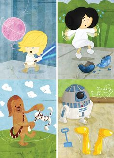 Baby Star Wars  Series of six 5x7 prints by ginormousrobot on Etsy, $36.00