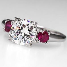 Diamond Wedding Rings This would be a dream to wear. Carat Diamond Engagement Ring w/ Ruby Accents Platinum - EraGem - Antique Diamond Rings, Ruby Diamond Rings, Antique Engagement Rings, Designer Engagement Rings, Diamond Wedding Rings, Diamond Engagement Rings, Solitaire Rings, Ruby Rings, Emerald Rings