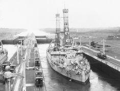 July 7, 1919: USS Kentucky Battleship BB-6 in the Panama Canal.