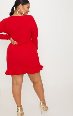 0b50143b2c8 Plus Red Ruffle Detail Wrap Dress