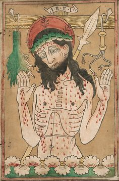 A woodcut of Christ as the Man of Sorrows by an anoymous artist c. Woodcut hand-colored with brush and watercolor on cream laid paper, edge-mounted to vellum, at the Art Institute of Chicago Medieval Life, Medieval Art, Renaissance Art, Artwork Images, European Paintings, Bear Art, Art Institute Of Chicago, Religious Art, Catholic Art