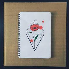 Geometric poppy red tattoo sketch