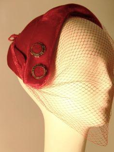 6c76f7c2d7 1950s Red Velvet Cocktail Hat Ladies Fashion