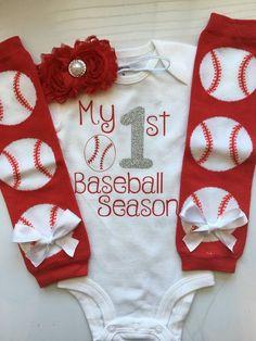Baby Girl Baseball Outfit- My 1st Baseball Season - baseball outfit - baseball bodysuit - base ball leg warmers
