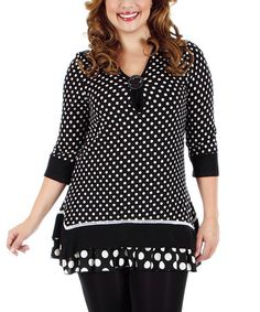 Love this Black & White Polka Dot Ruffle Tunic - Plus by Aster on #zulily! #zulilyfinds