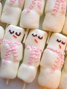 chocolate covered marshmallow snowmen! Too cute!