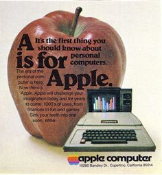 Vintage Apple ad. HAhA! this makes me laugh cuz I'm using my new mac book right now.