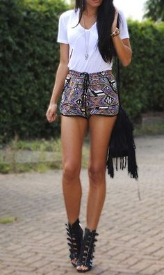 White Top + Printed Shorts + Buckle #Gladiator Heels + Fringe Purse