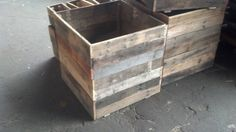 These planters are made from recycled hardwood from pallets. We removed all the old nails and any broken pieces. We cut and sanded them for use