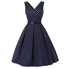 Valerie Navy Swing Dress | Vintage Style Dresses - Lindy Bop