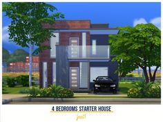 A modern small starter house with 4 bedrooms: master with en-suite, 2 kids rooms and 1 guest room and an open plan area with living room, dining area and kitchen. Hope you like it and thank you for. Sims 4 House Design, Sims House, Starter Home, Sims Resource, Open Plan, Friends In Love, Dining Area, Guest Room, Bedrooms
