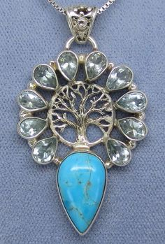 Genuine Arizona Turquoise & Blue Topaz Tree of Life Necklace - Sterling Silver - Handmade - TL151806