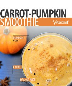 Carrot Pumpkin Smoothie #Recipe #Pumpkin #Fall #Smoothie #Healthy