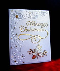 I love the gold on this, but it's very hard to photograph. Embossing folder is Darice Snowflake Scroll Corner. Dies: PS/Small Blooming Poinsettia and IO/Merry Tree. Placed dazzle jewels in the snowflake centers. Homemade Christmas Cards, Christmas Cards To Make, Xmas Cards, Handmade Christmas, Homemade Cards, Holiday Cards, Christmas Tree, Christmas Vacation, Christmas Cactus