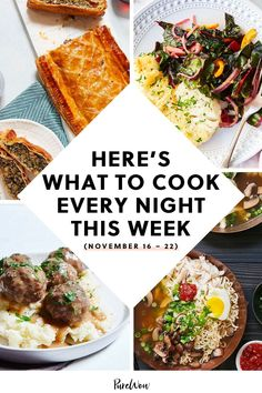 This week is our last chance to kick back before the holiday season officially starts. Here are seven dinners to treat yourself to before the panic sets in. #dinner #ideas #recipes Quick Healthy Meals, Healthy Dessert Recipes, Breakfast Recipes, Breakfast Lunch Dinner, What To Cook, Meals For The Week, Food Hacks, Allrecipes, Meal Planning
