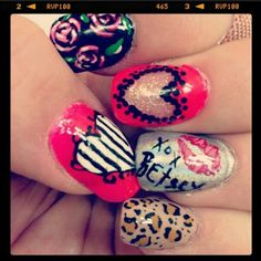 Betsey Johnson nail art