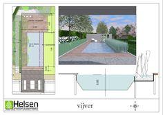 Moderne tuin Gendt met strakke vijver en vlonder - Helsen tuinen Floor Plans, Floor Plan Drawing, House Floor Plans