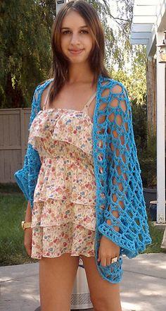 Hot Blue Shrug a free crochet shrug pattern Crochet Shrug Pattern, Crochet Cardigan, Knit Or Crochet, Crochet Scarves, Crochet Clothes, Free Crochet, Crochet Patterns, Crochet Summer, Free Pattern