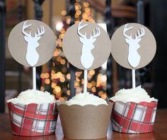 12 Rustic Vintage Deer Silhouette Cupcake Toppers and Wrappers | socuteparties - Seasonal on ArtFire