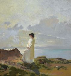 """""""""""Can't bring back time. Like holding water in your hand"""" James Joyce ~ Ulysses Artwork by Sir William Orpen On the Cliff, Dublin Bay, Morning Oil on canvas Art Gallery, Canvas Art Prints, Beach Painting, Fine Art, Impressionist Art, Irish Painters, Art, Irish Art, English Art"""