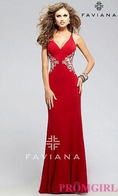 V-neck Floor Length Faviana Prom Dress at PromGirl.com