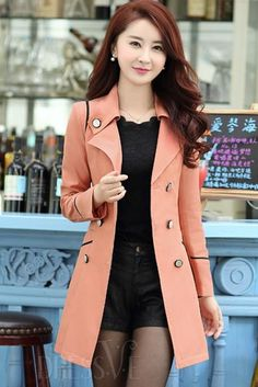 Yellow/Blue/Red/Green Sailor Collar Double-Brested Trench Coat http://www.dressve.com/shop-11170780.html