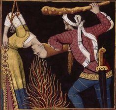 L-Supplice de Leaena, courtisane grecque, résistant à la torture pour ne pas dénoncer ses amis (LEAENA, a courtesan) -- Giovanni Boccaccio (1313-1375), Le Livre des cleres et nobles femmes, v. 1488-1496, Cognac (France), traducteur anonyme. -- Illustrations painted by Robinet Testard -- BnF Français 599 fol. 44v