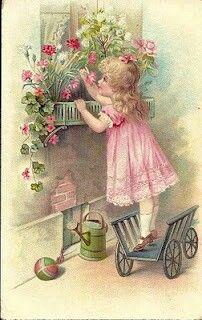 Vintage girl with flowers ~ 1908 postcard Vintage Prints, Vintage Abbildungen, Vintage Labels, Vintage Ephemera, Vintage Paper, Vintage Postcards, Vintage Antiques, Vintage Roses, Vintage Pictures