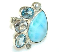 $79.85 Beauty Blue Larimar Sterling Silver Ring s. 6 1/2 at www.SilverRushStyle.com #ring #handmade #jewelry #silver #larimar